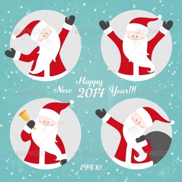 Vector Christmas Set with Santa - Christmas Seasons/Holidays