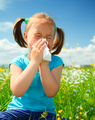 Little Girl Is Blowing Her Nose - PhotoDune Item for Sale