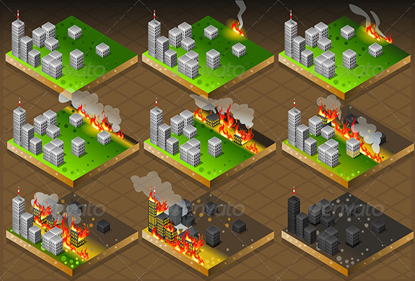 Isometric Fire Disaster Classifications Scale - Buildings Objects