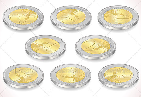 Set of Two Euro Coins Isolated on White  - Business Conceptual