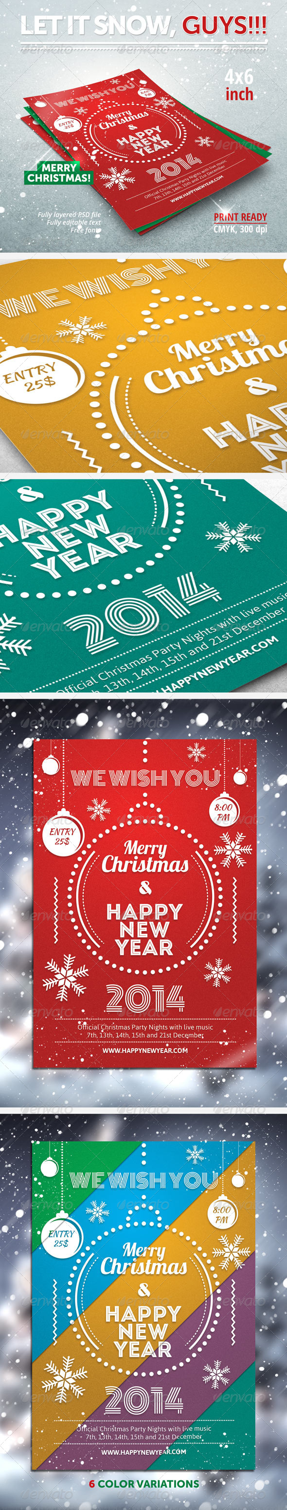 Christmas, New Year party flyer - Clubs & Parties Events
