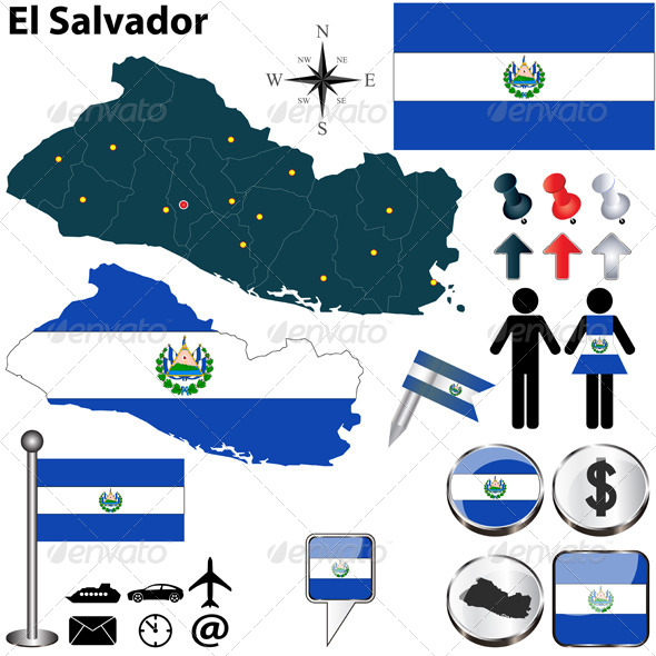 Map of El Salvador - Travel Conceptual