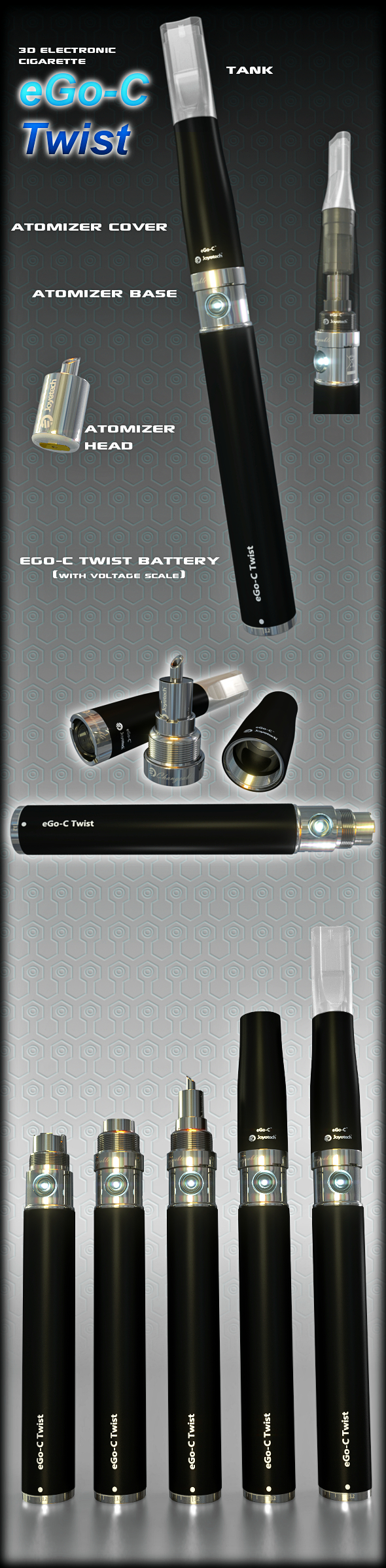 eGo-V eGo-VV Cigarette - 3DOcean Item for Sale