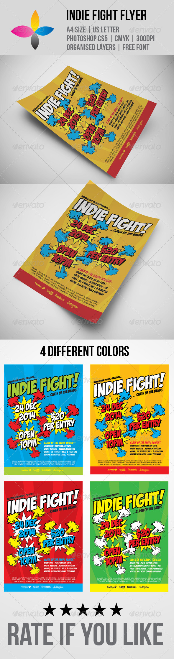 Indie Fight Flyer - Concerts Events