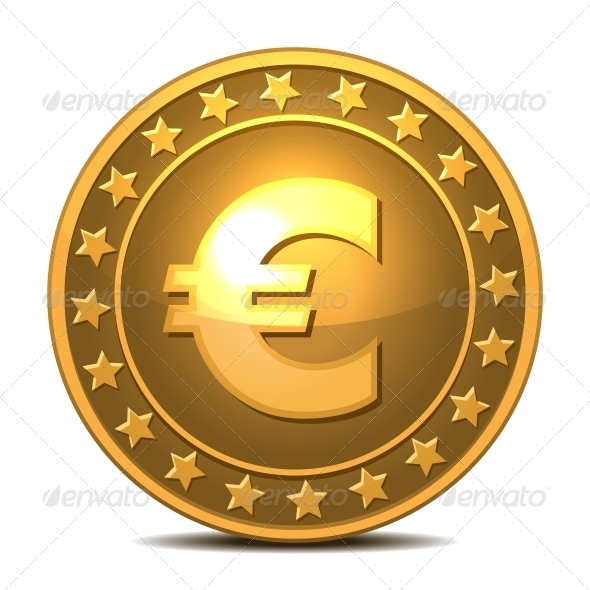 Gold Coin with Euro Sign - Services Commercial / Shopping