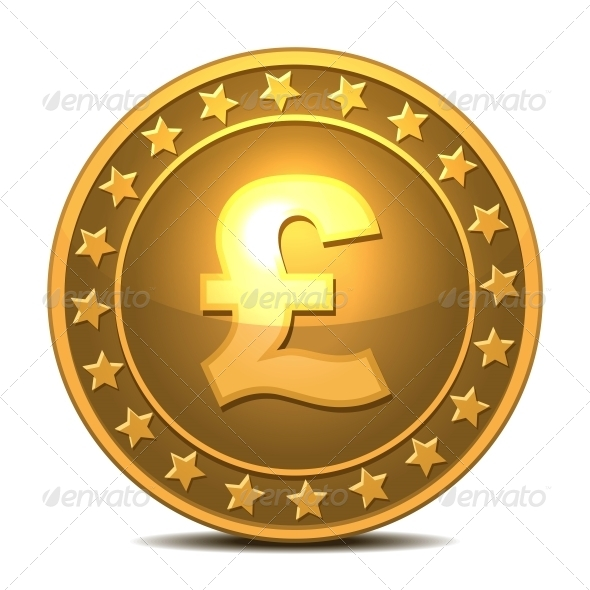 Gold Coin with Pound Sterling Sign - Services Commercial / Shopping