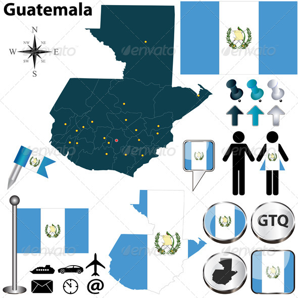 Map of Guatemala - Travel Conceptual