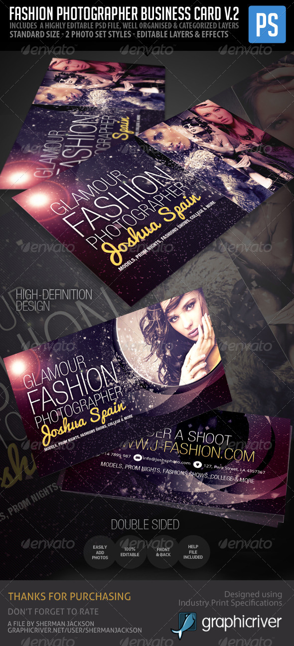Fashion Photographer Business Card V.2 - Industry Specific Business Cards