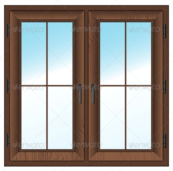 Wooden closed double window by roxiller graphicriver for Window design vector