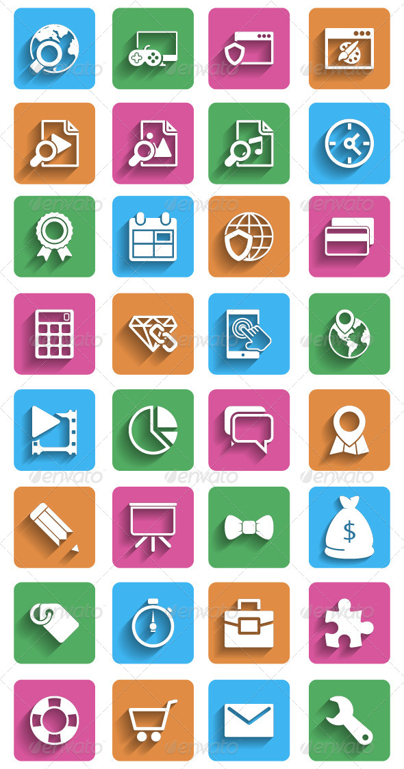Internet Marketing Flat Icons - Business Icons