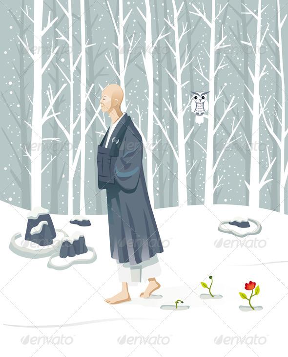 Zen Monk Walking - Religion Conceptual
