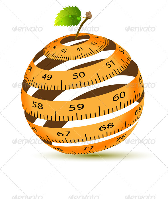 Apple and Measuring Tape - Abstract Conceptual