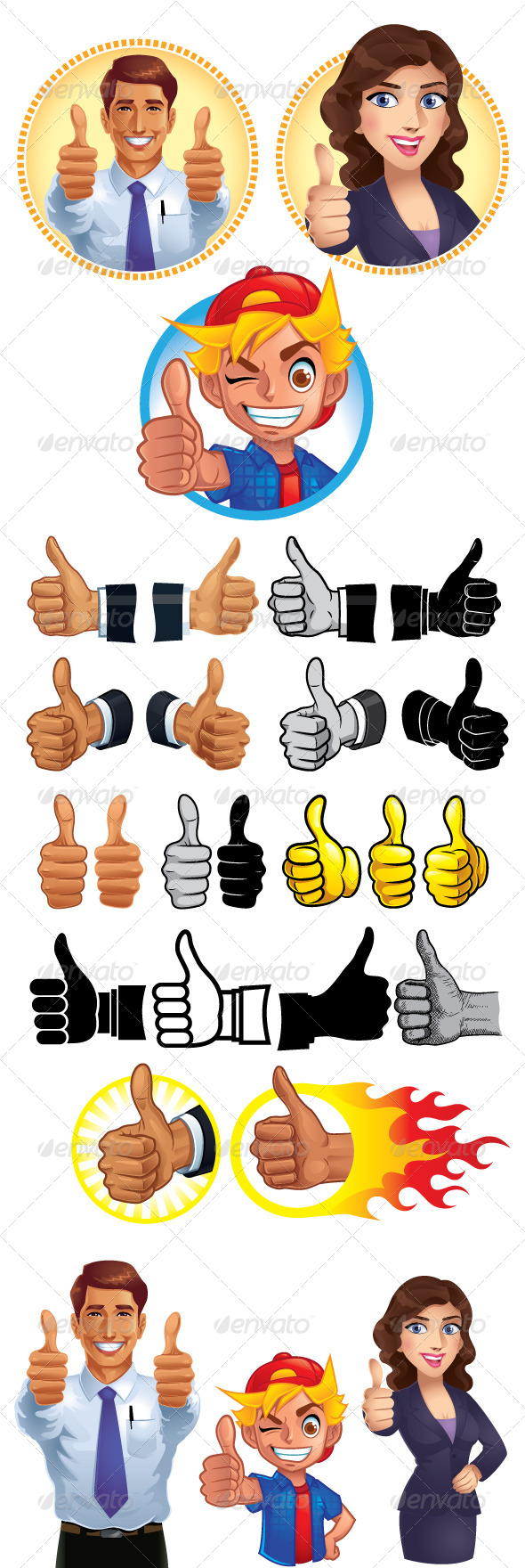 Thumb Up Set - People Characters