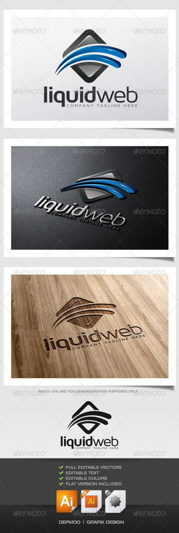 Liquid Web Logo - Abstract Logo Templates
