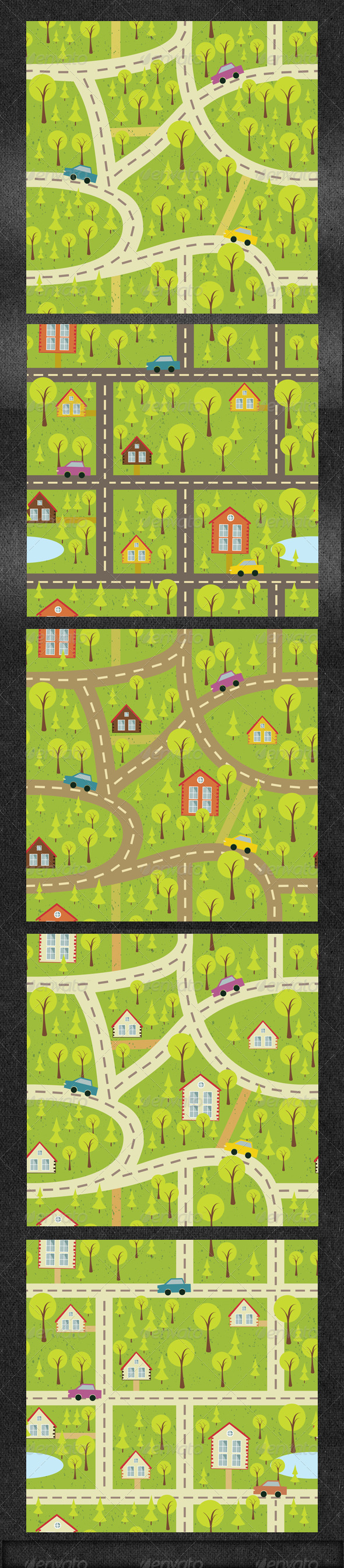 Seamles Pattern Background with Houses - Patterns Decorative