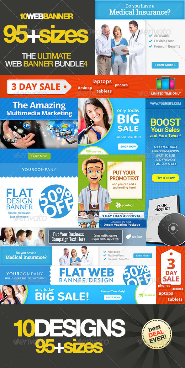 Ultimate Banner Ad Set Bundle Vol. 4 - Banners & Ads Web Elements