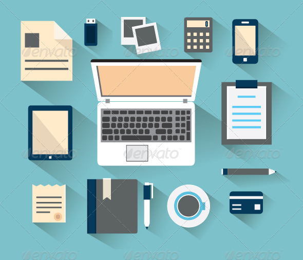 Workplace with Mobile Devices and Documents - Objects Vectors