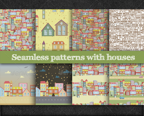 Seamless Patterns with Houses - Patterns Decorative