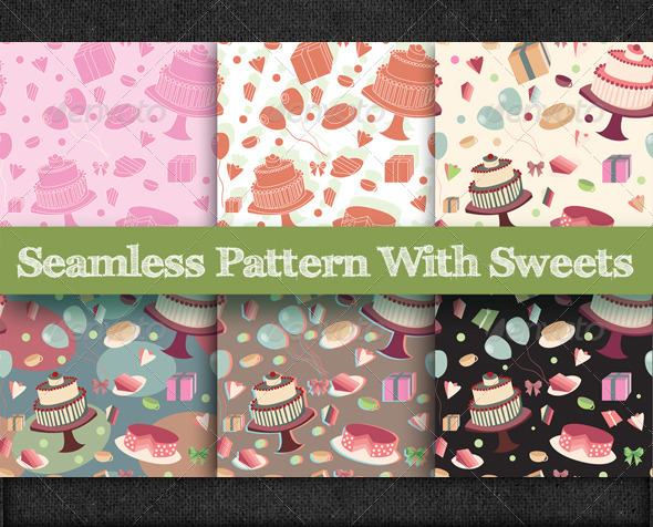 Seamless Pattern with Sweets - Patterns Decorative