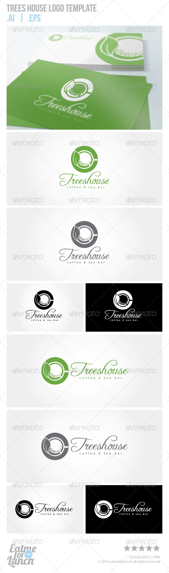 Trees House Green Coffee and Tea Logo Template  - Food Logo Templates