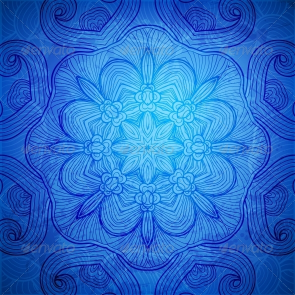Colorful Blue Vector Snowflake Background - Backgrounds Decorative