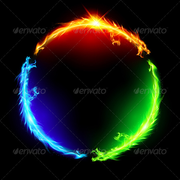 Fire Dragons in Circle. - Characters Vectors