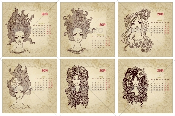 Vintage Style 2014 Year Vector Calendar Part 1 - Backgrounds Decorative