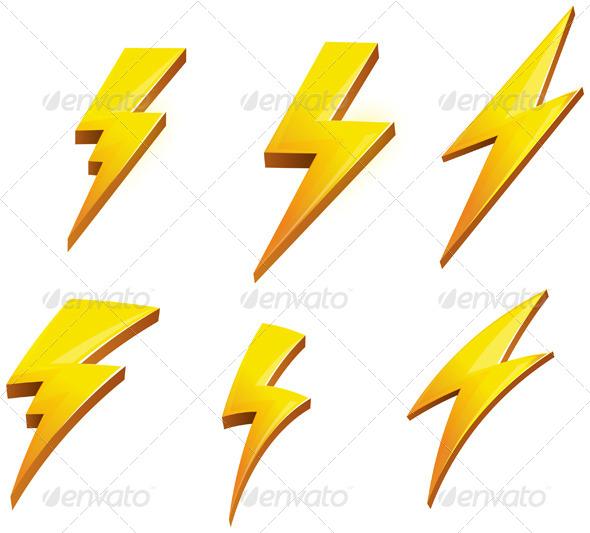 Lightening Bolt Set Illustration - Abstract Conceptual