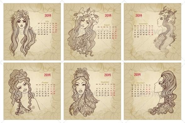 Vintage Style 2014 Year Vector Calendar Part 2 - Backgrounds Decorative