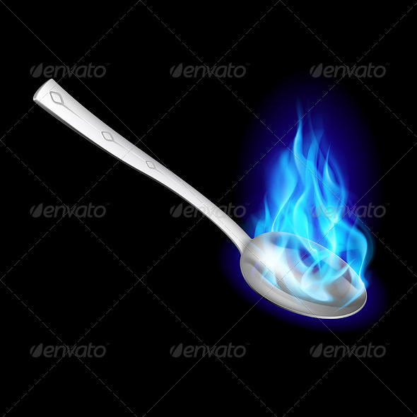 Metal Spoon with Blue Fire - Backgrounds Business
