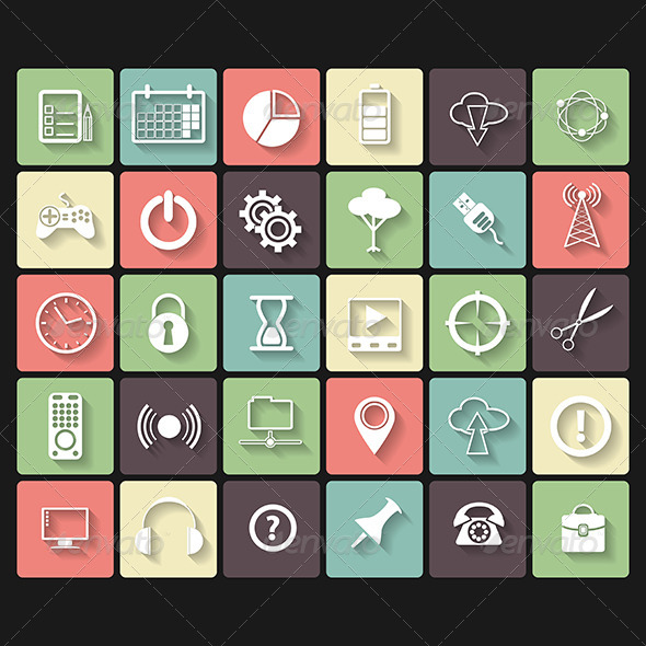 Universal Flat Icons for Web and Mobile - Web Technology