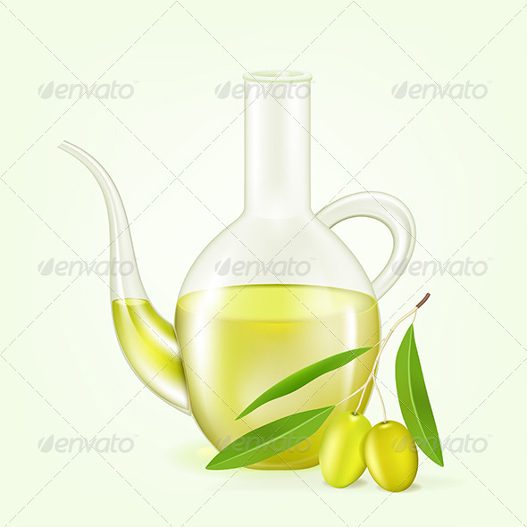 Branch with Olives and a Bottle of Olive Oil - Food Objects