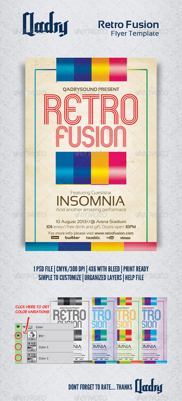 Retro Fusion Flyer Template - Clubs & Parties Events