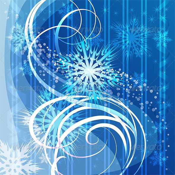 Christmas Blue Background with Snowflakes - Christmas Seasons/Holidays