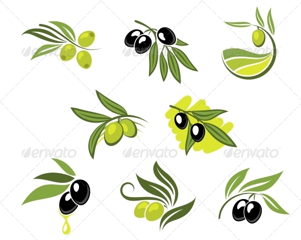 Green and Black Olives Set - Food Objects