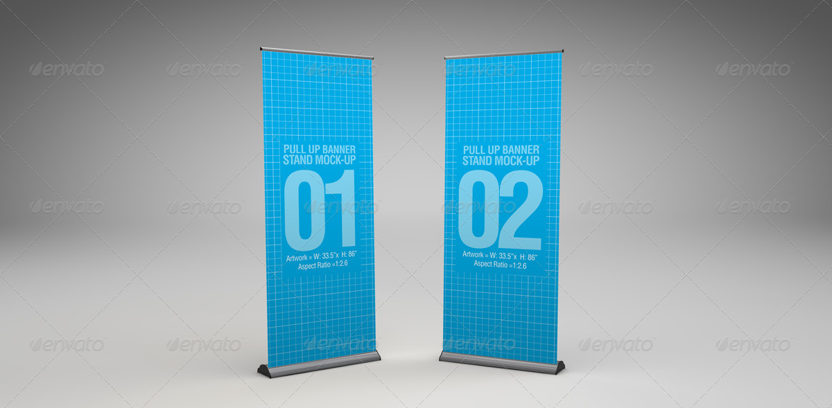 Pull Up Banner Stand Mock Up By Abelo Graphicriver