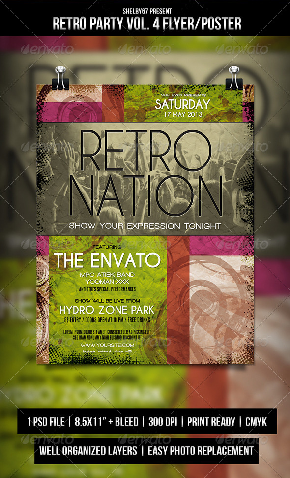Retro Party Flyer / Poster Vol.4 - Clubs & Parties Events