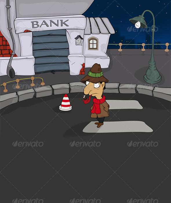 Detective in a Night City Cartoon  - Conceptual Vectors