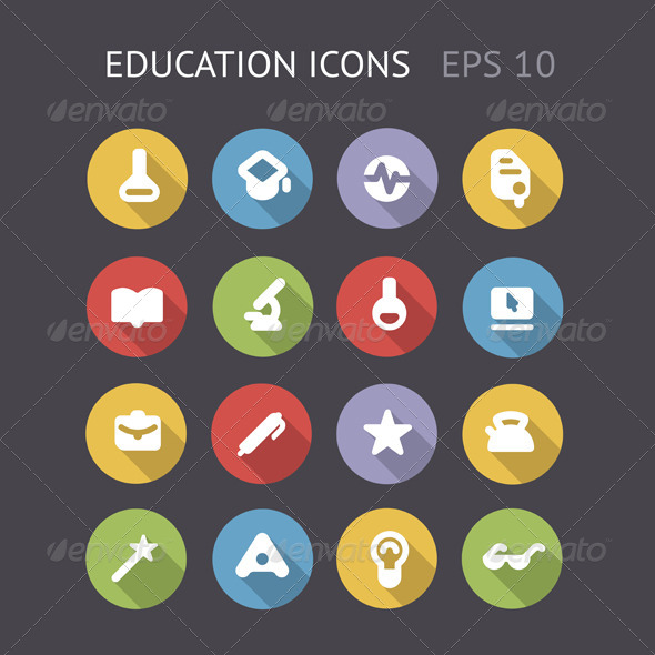 Flat Icons For Education - Technology Icons