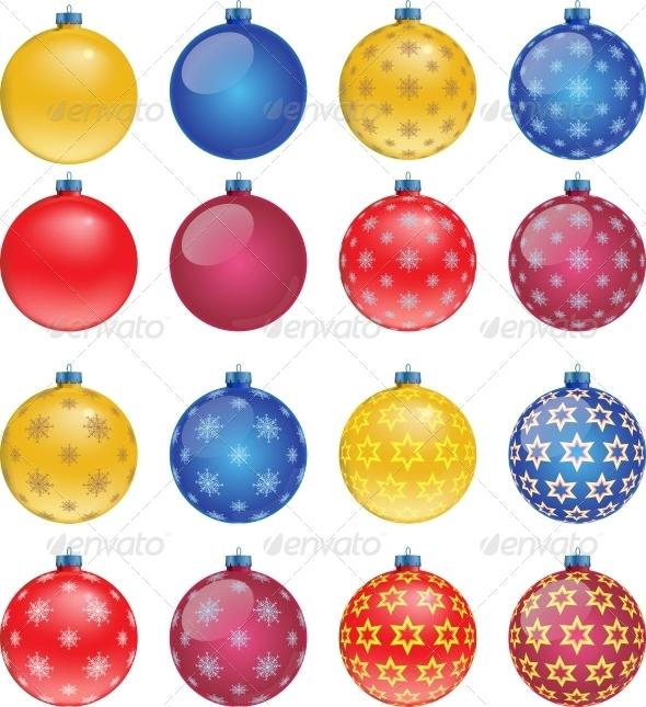 Set of Colorful Christmas Balls - Christmas Seasons/Holidays