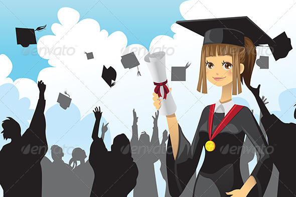 Graduation Girl holding Diploma - People Characters