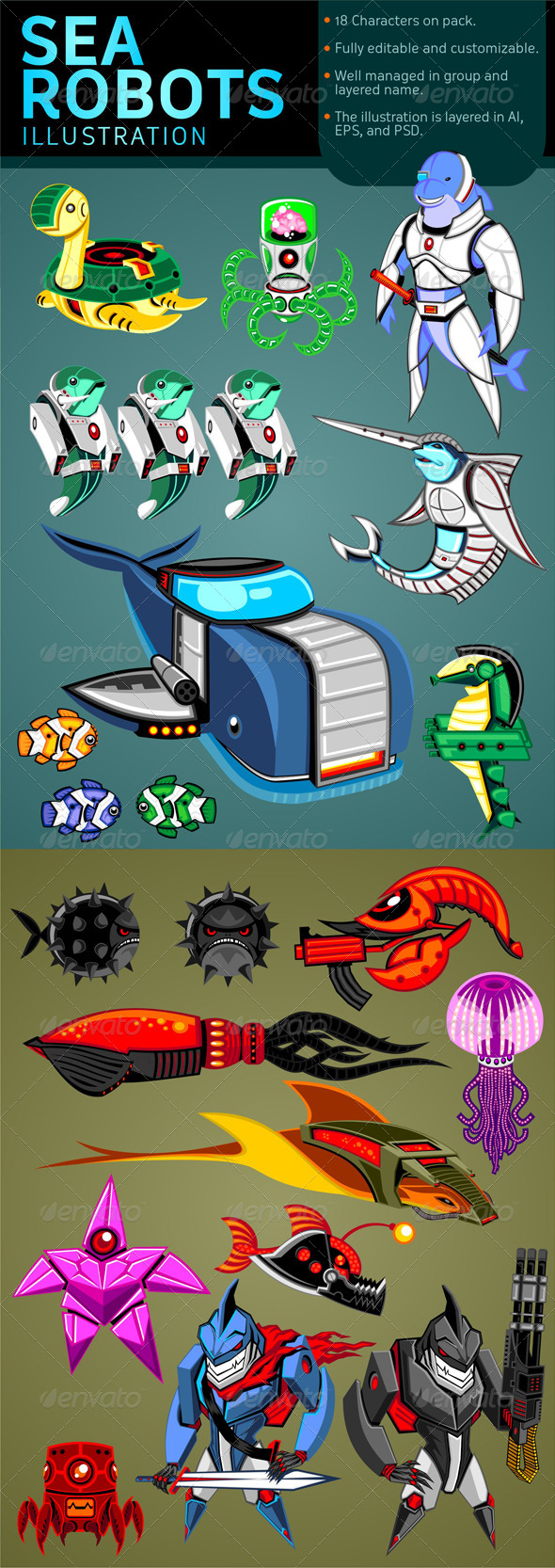 Sea Robots Illustration - Characters Vectors