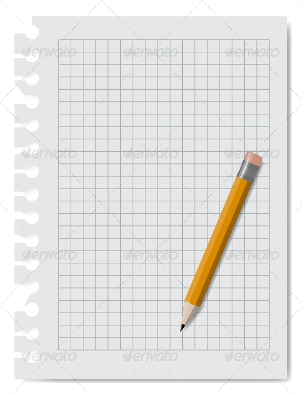 Note Book Paper with Pencil - Man-made Objects Objects
