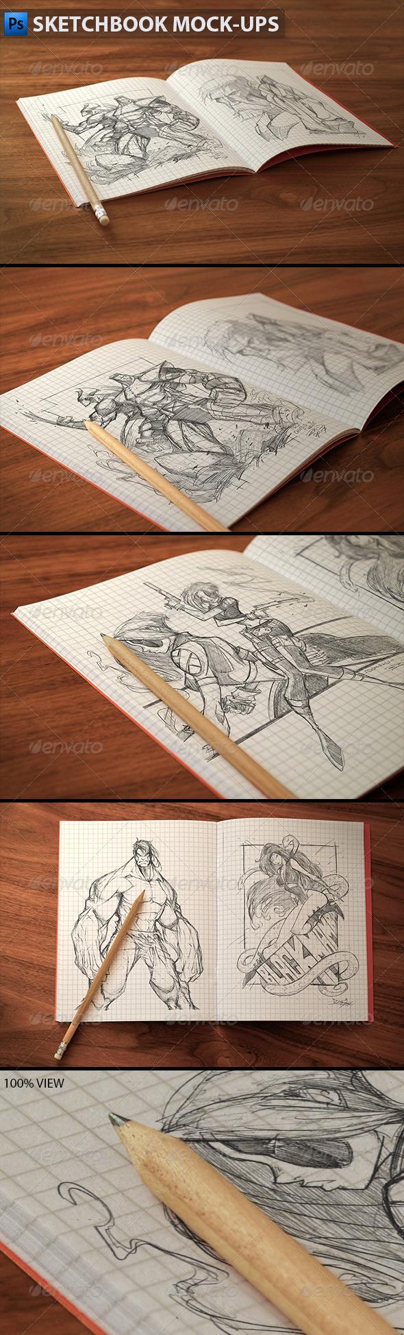 Sketchbook Mock-ups - Product Mock-Ups Graphics