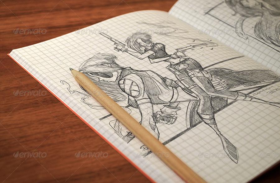 05 sketchbook pencil sketch note mockup psd jpg