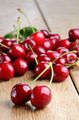 Organic Cherries on the wooden table - PhotoDune Item for Sale