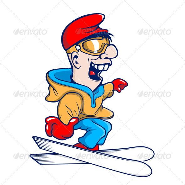 Ski Cartoon Character - People Characters