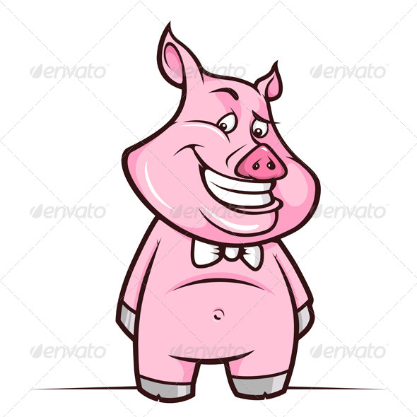 Cartoon Piggy Smiling - Animals Characters
