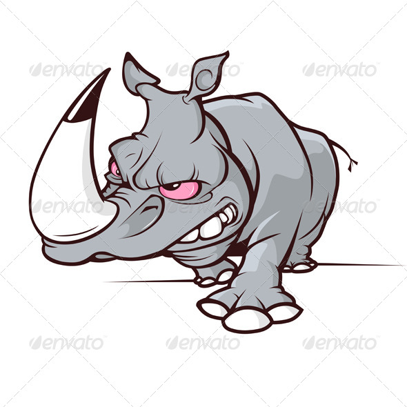 Evil Cartoon Rhino - Animals Characters