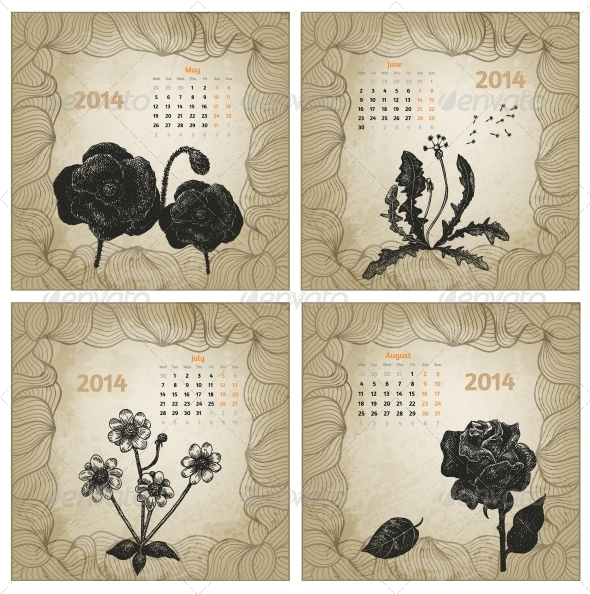 Vintage Style 2014 Hand Drawn Vector Calendar - Seasons Nature